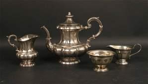 Proll 19th C German Silver Coffeepot and Creamer