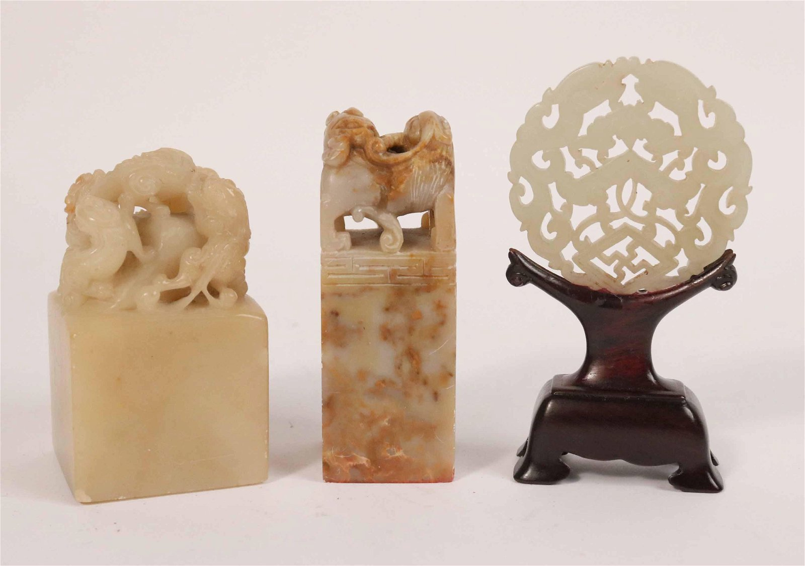 Two Chinese Carved Hardstone Seals