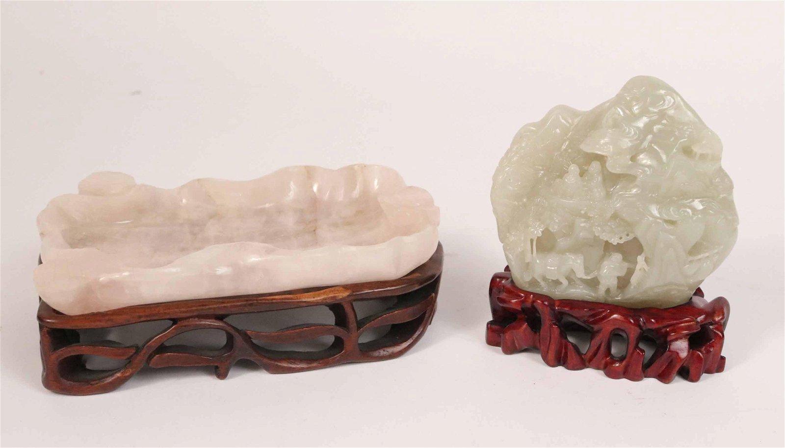 Chinese Carved Rose Quartz Brush Washer