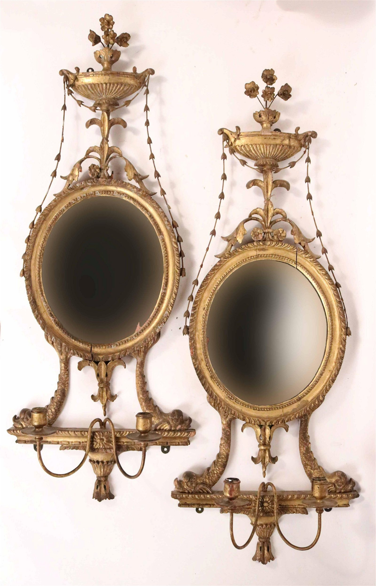 Pair of Late George III Giltwood Wall Sconces