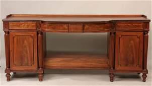 Regency Ebony-Inlaid Mahogany Pedestal Sideboard