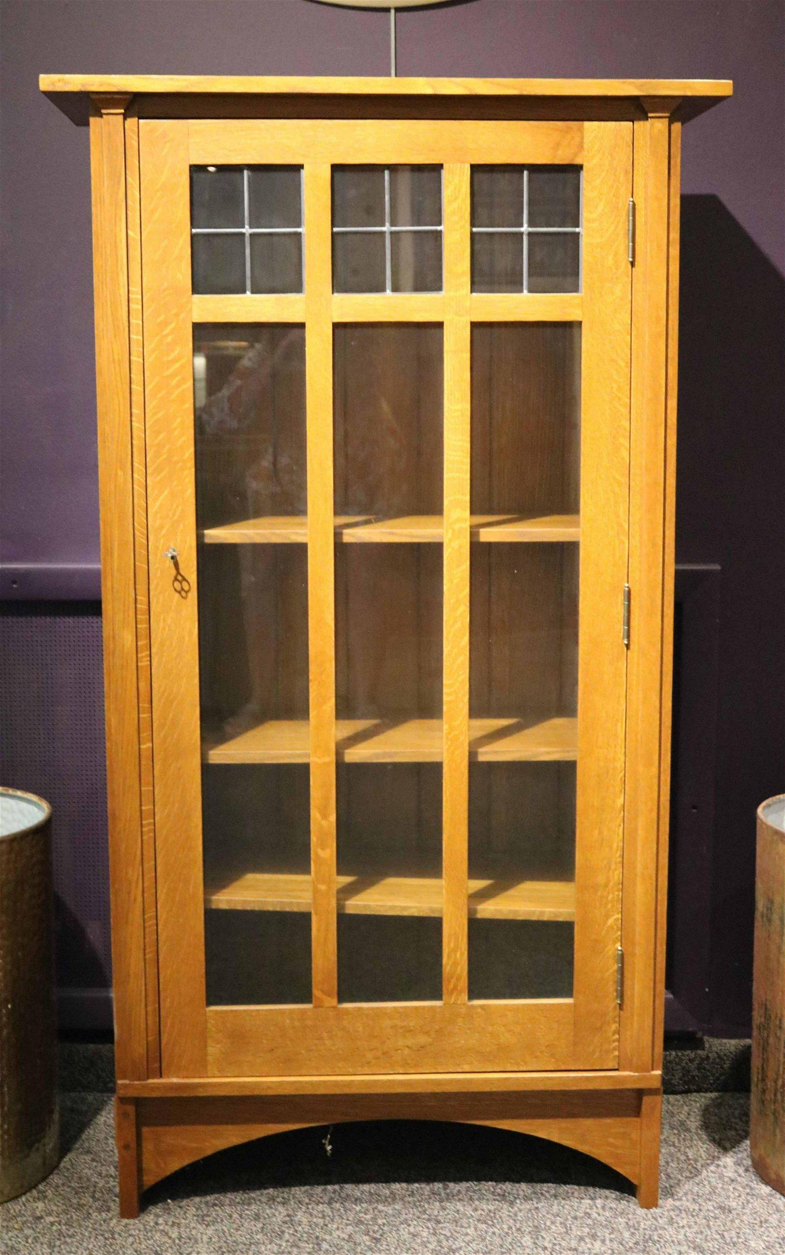 Stickley Arts & Crafts Style Figured Oak Bookcase