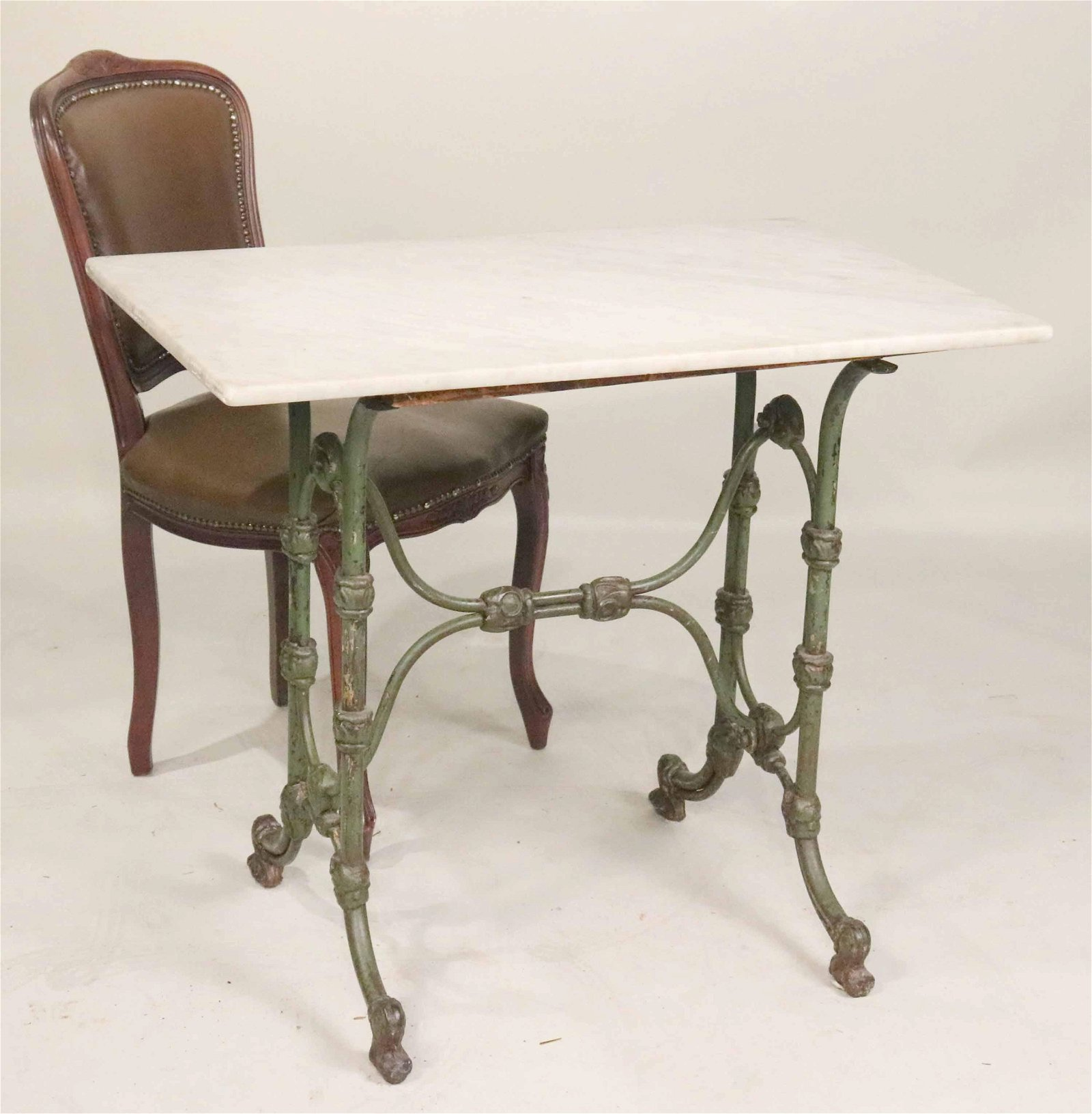 Victorian Painted Cast Iron Marble Top Side Table