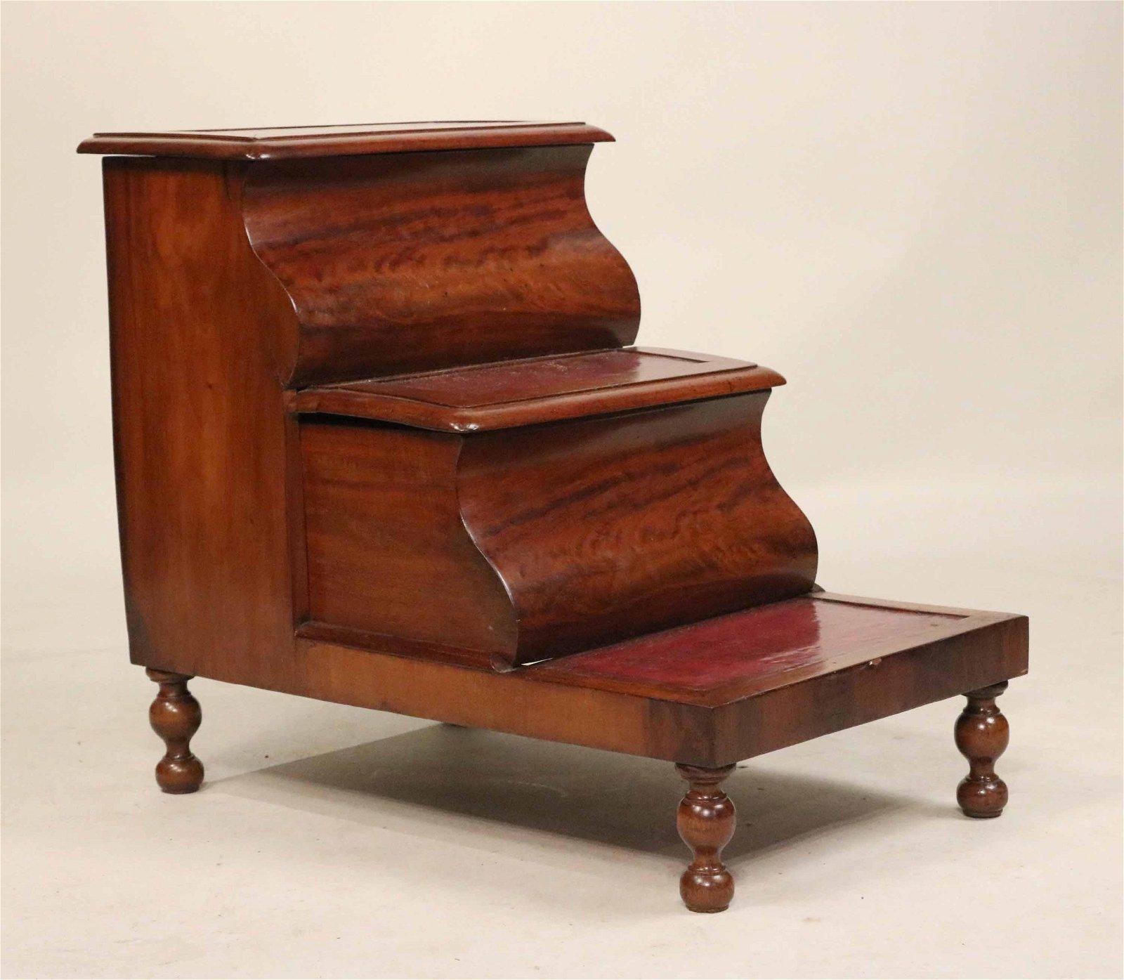 Set of Victorian Figured Mahogany Bed Steps