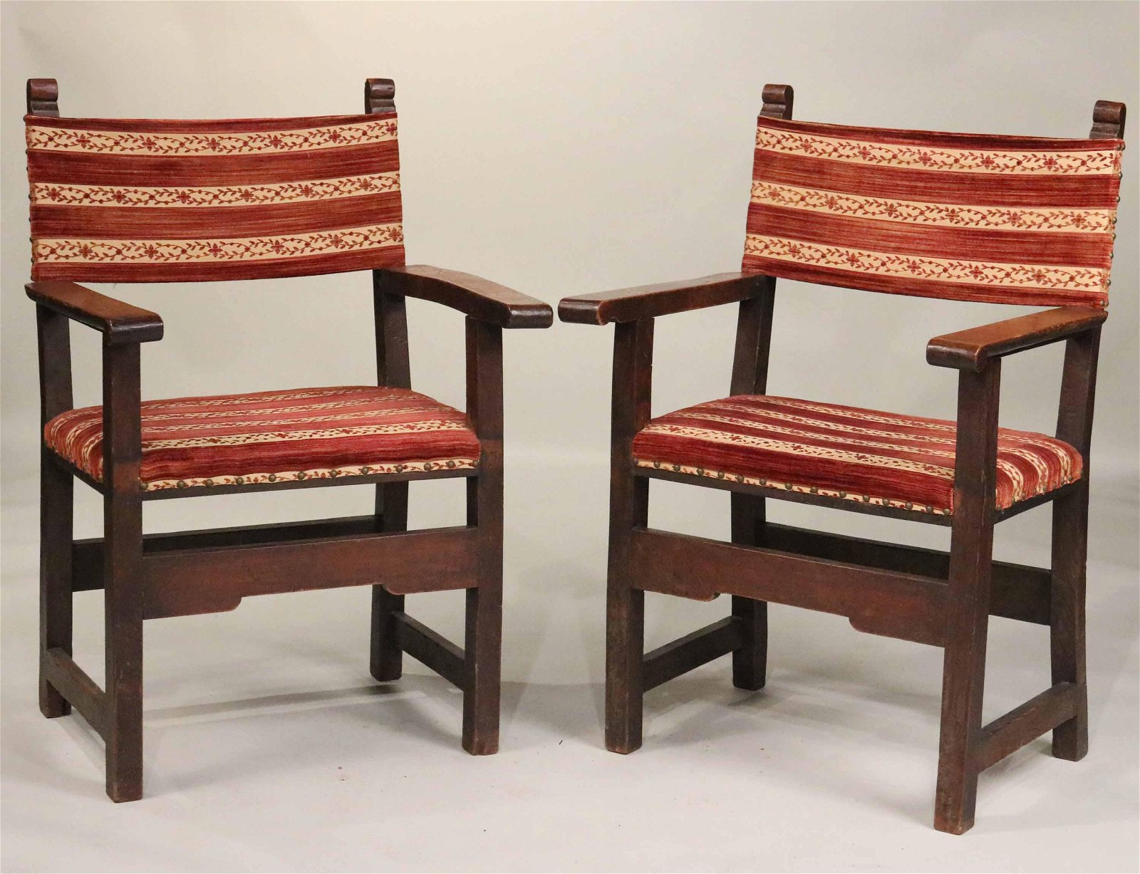 Pair of Baroque Style Walnut Armchairs