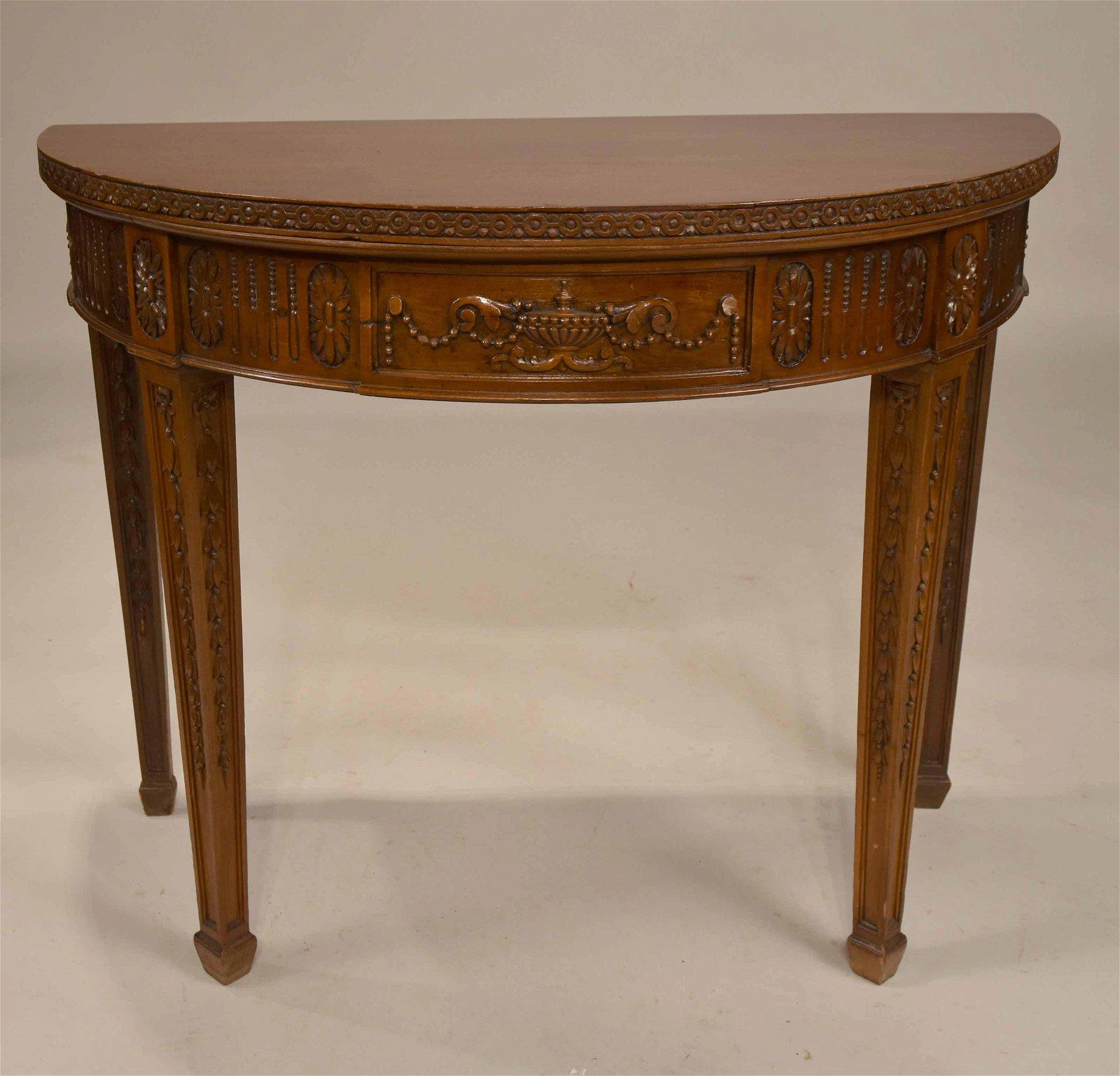George III Style Mahogany Demi-Lune Pier Table