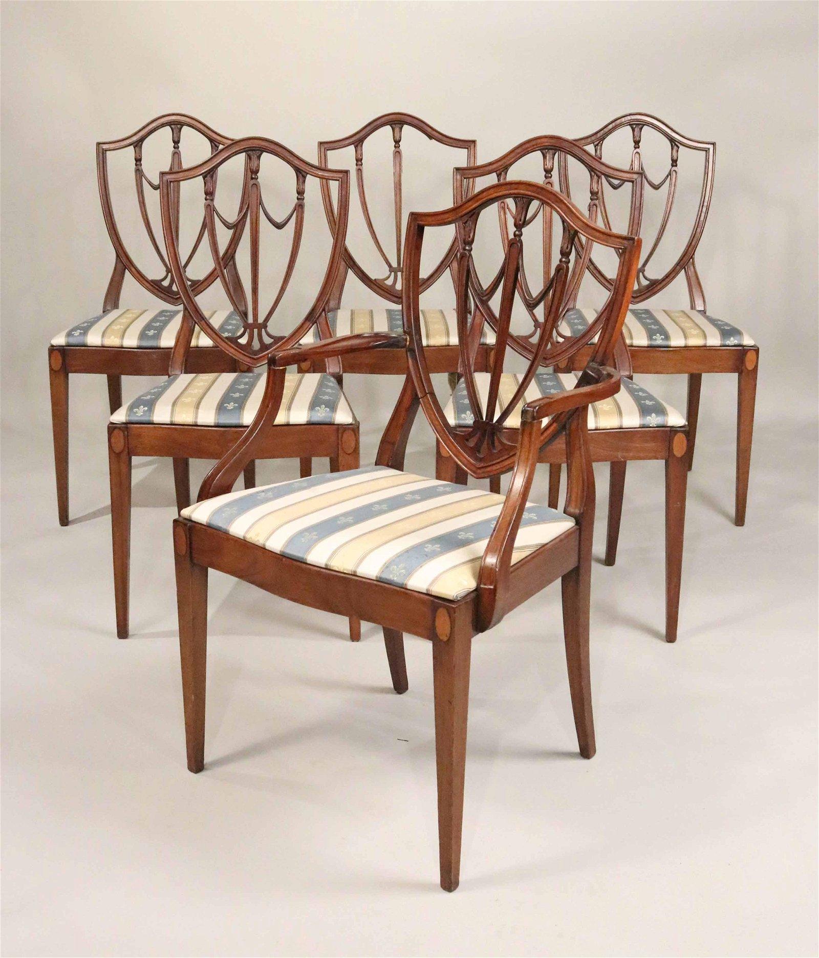 Six Federal Style Mahogany Shield Back Chairs