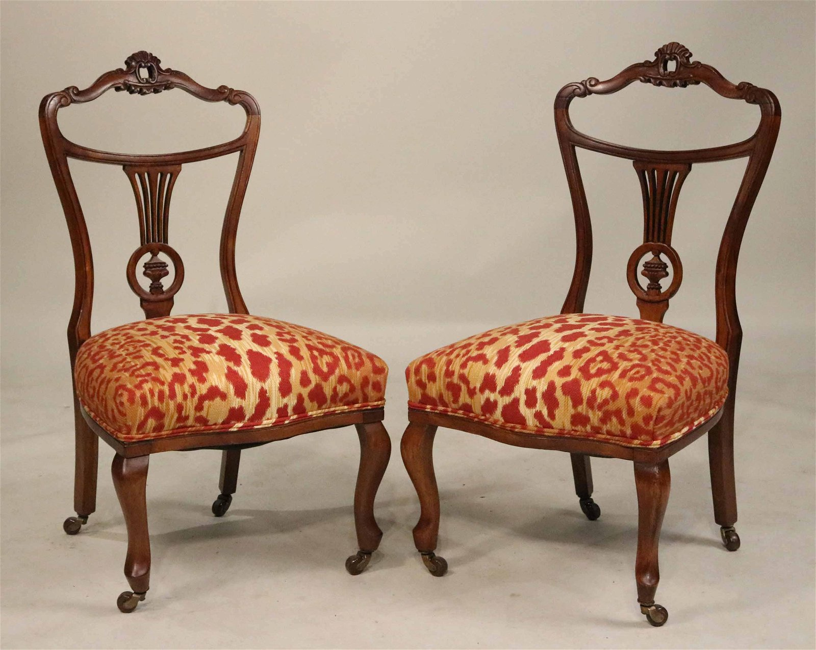 Pair of Victorian Style Mahogany Parlor Chairs