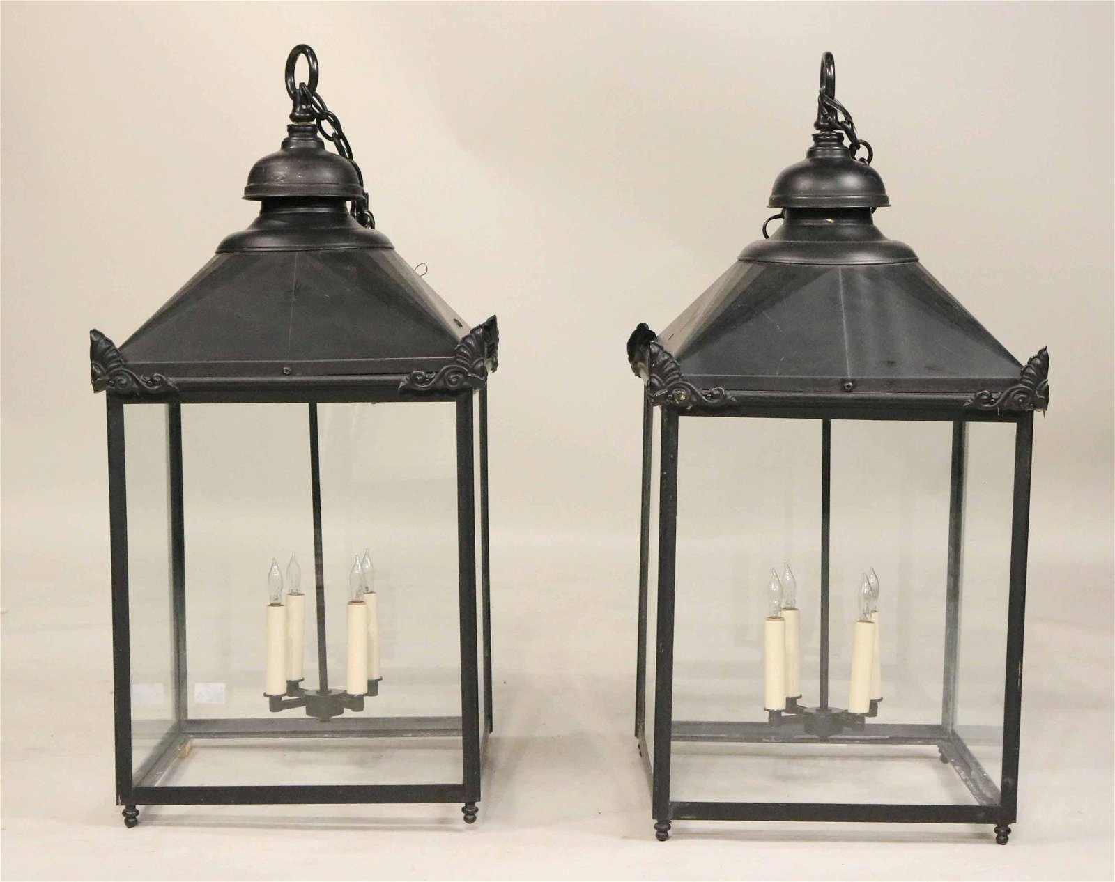 Pair of Black Painted Four Light Hanging Lanterns