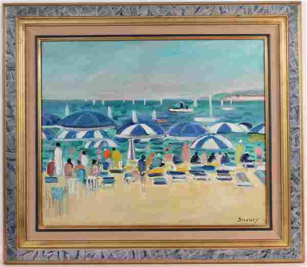 Oil on Canvas, Figures on Beach, Robert Savary