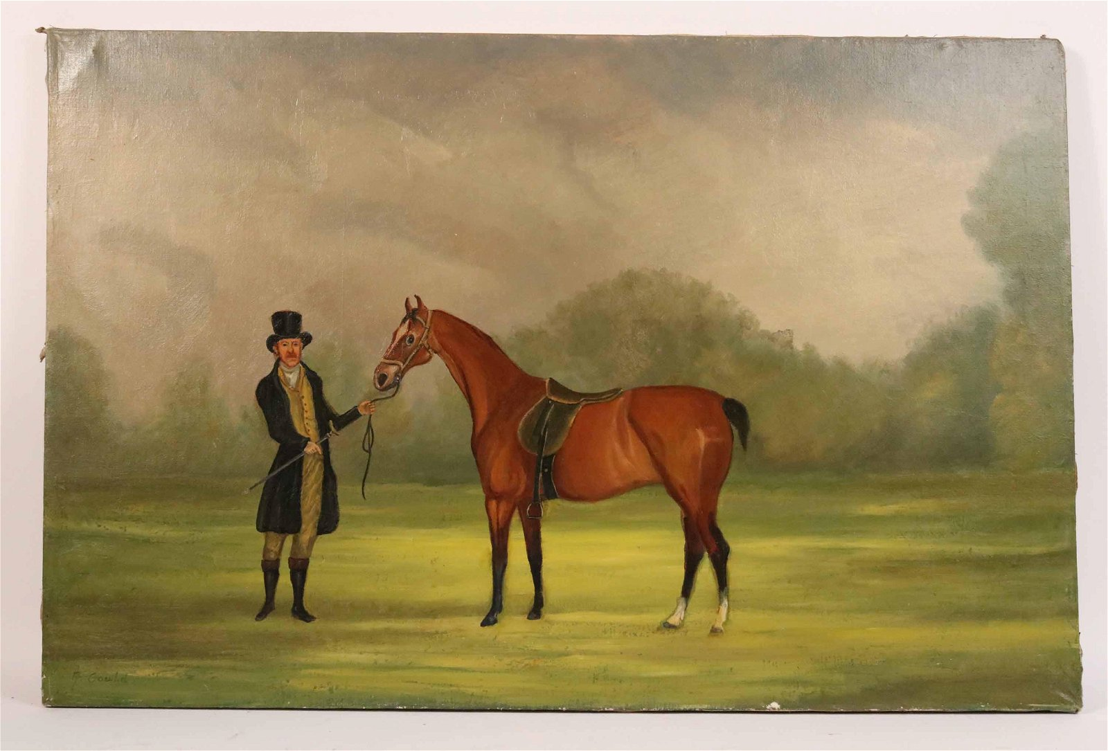 Oil on Canvas, Portrait of Gentleman and Horse