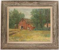 Oil on Canvas, Red Barn in Landscape