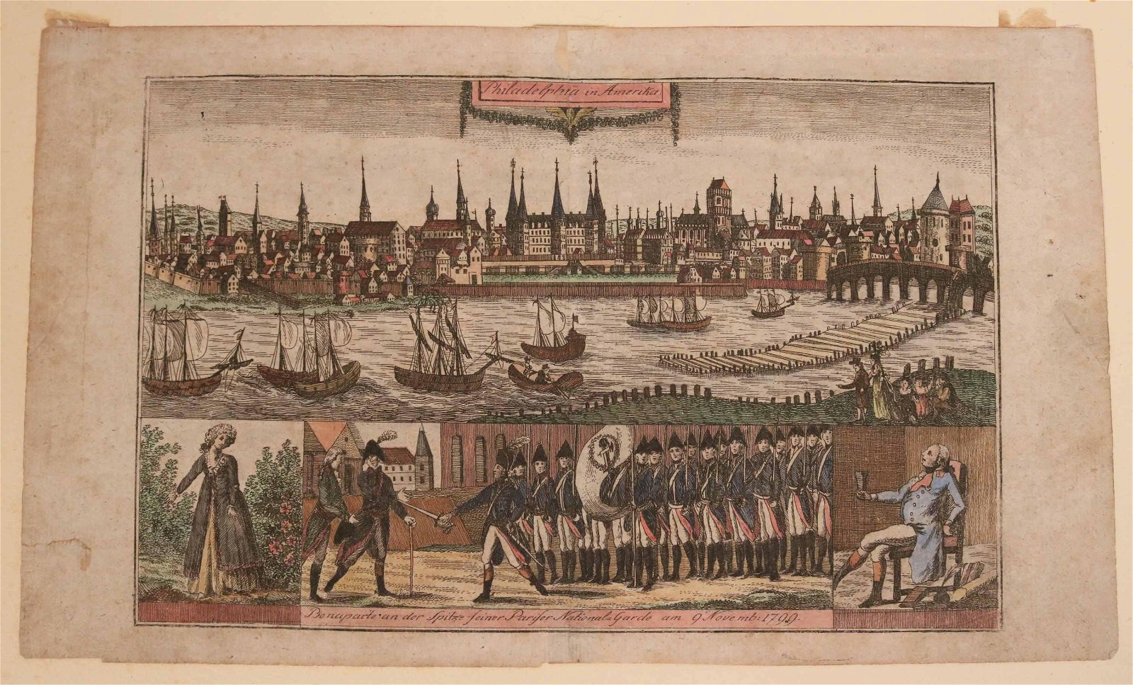 "Hand-Colored Engraving ""Philadelphia in America"""