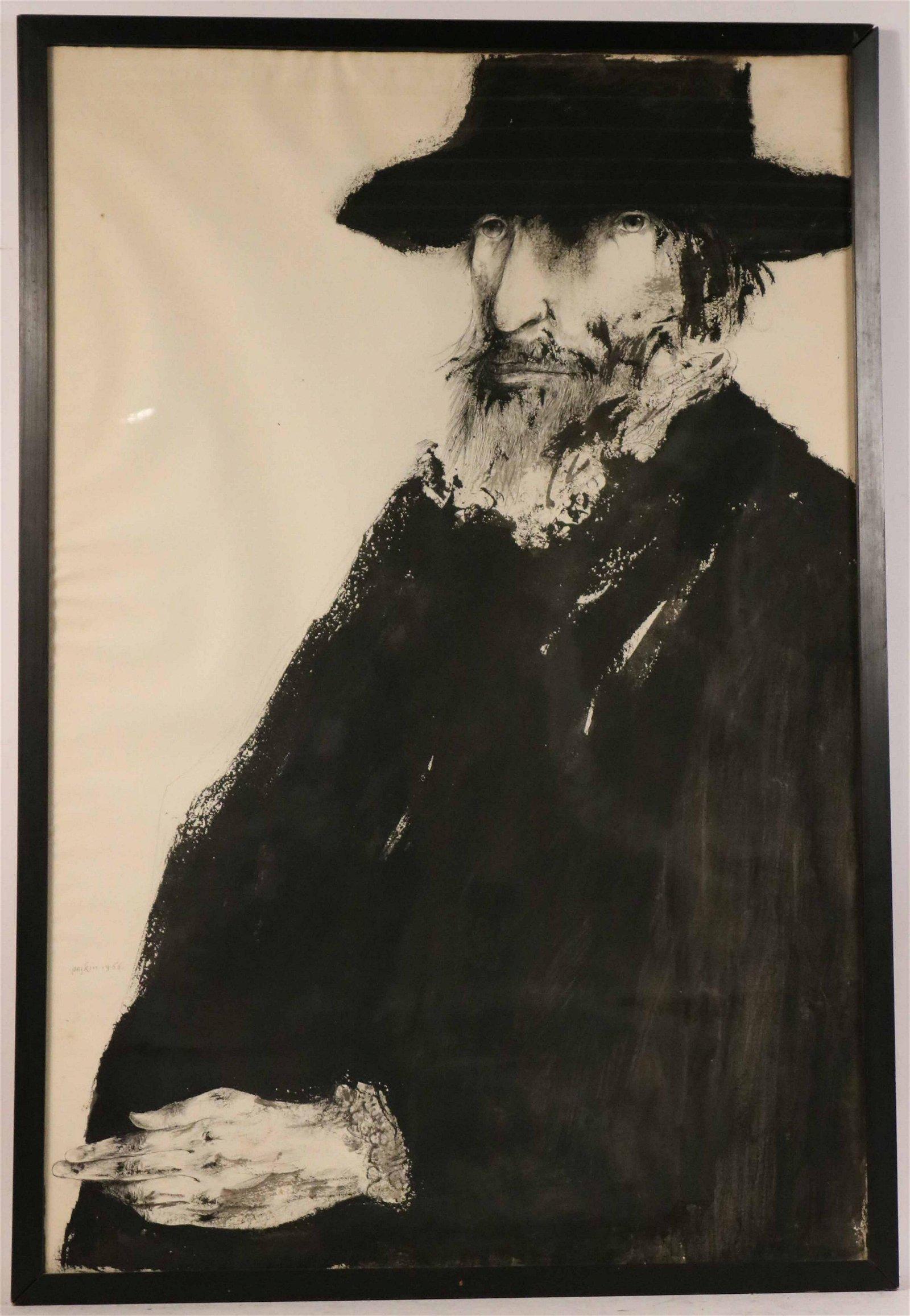 Leonard Baskin, Ink and Wash, Depicting a Man