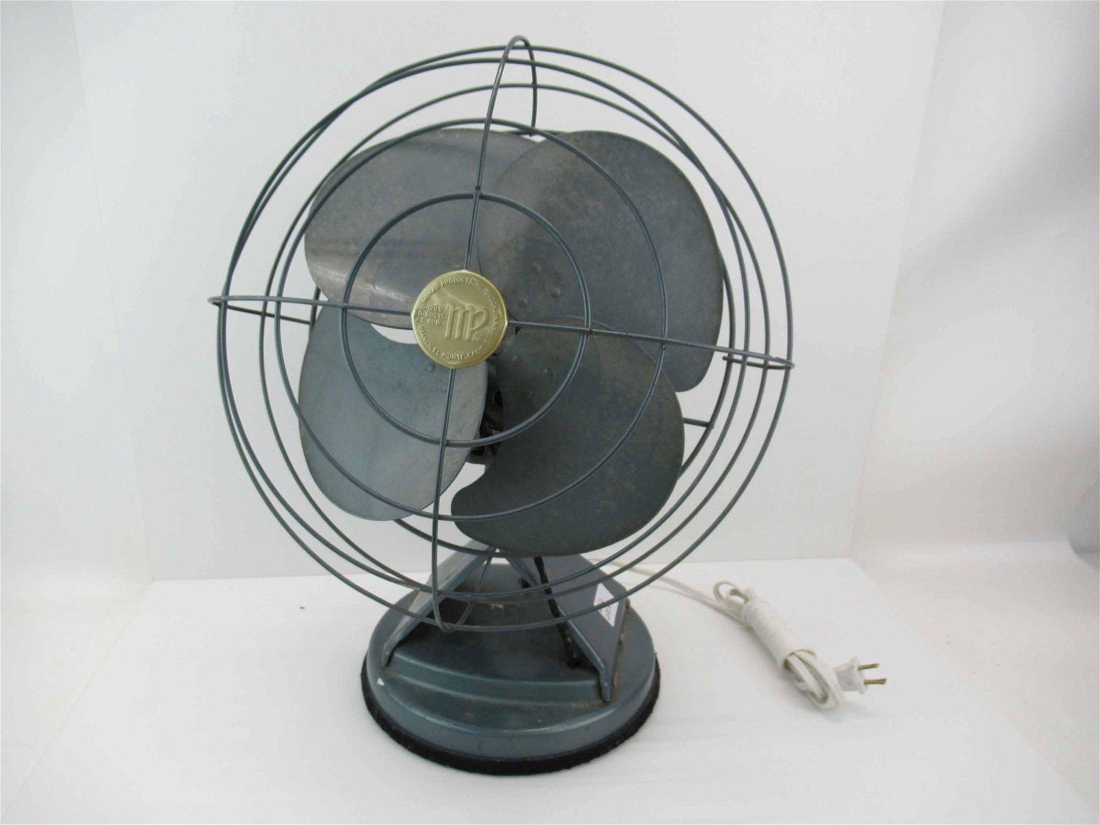 Vintage Mid Century Modern Blue Metal Fan