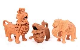 Group of Three Terracotta Animal Figures