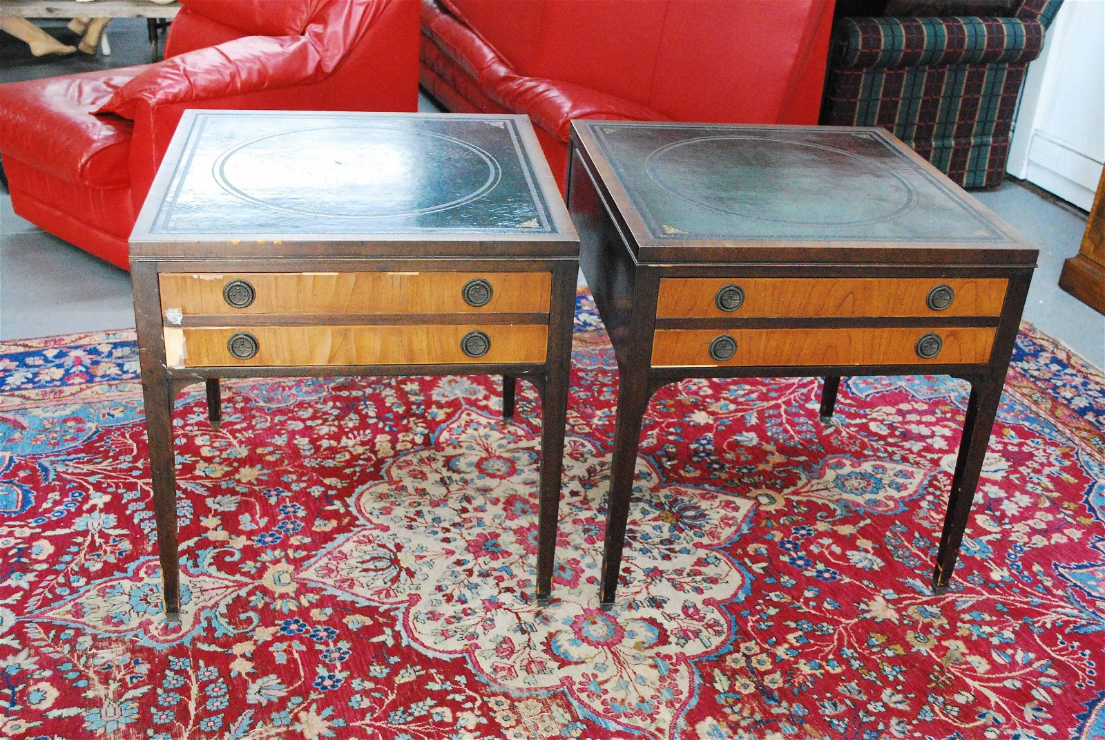 Pair of Kittinger Buffalo Leather Top End Tables