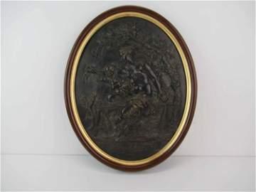 French Cast Bronze Bas Relief Satyr Faun Plaque