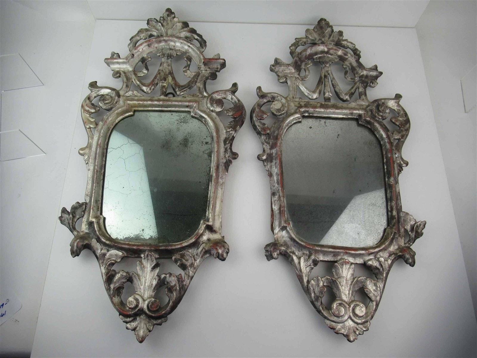 Pair of Antique Rococo Style Carved Wall Mirrors