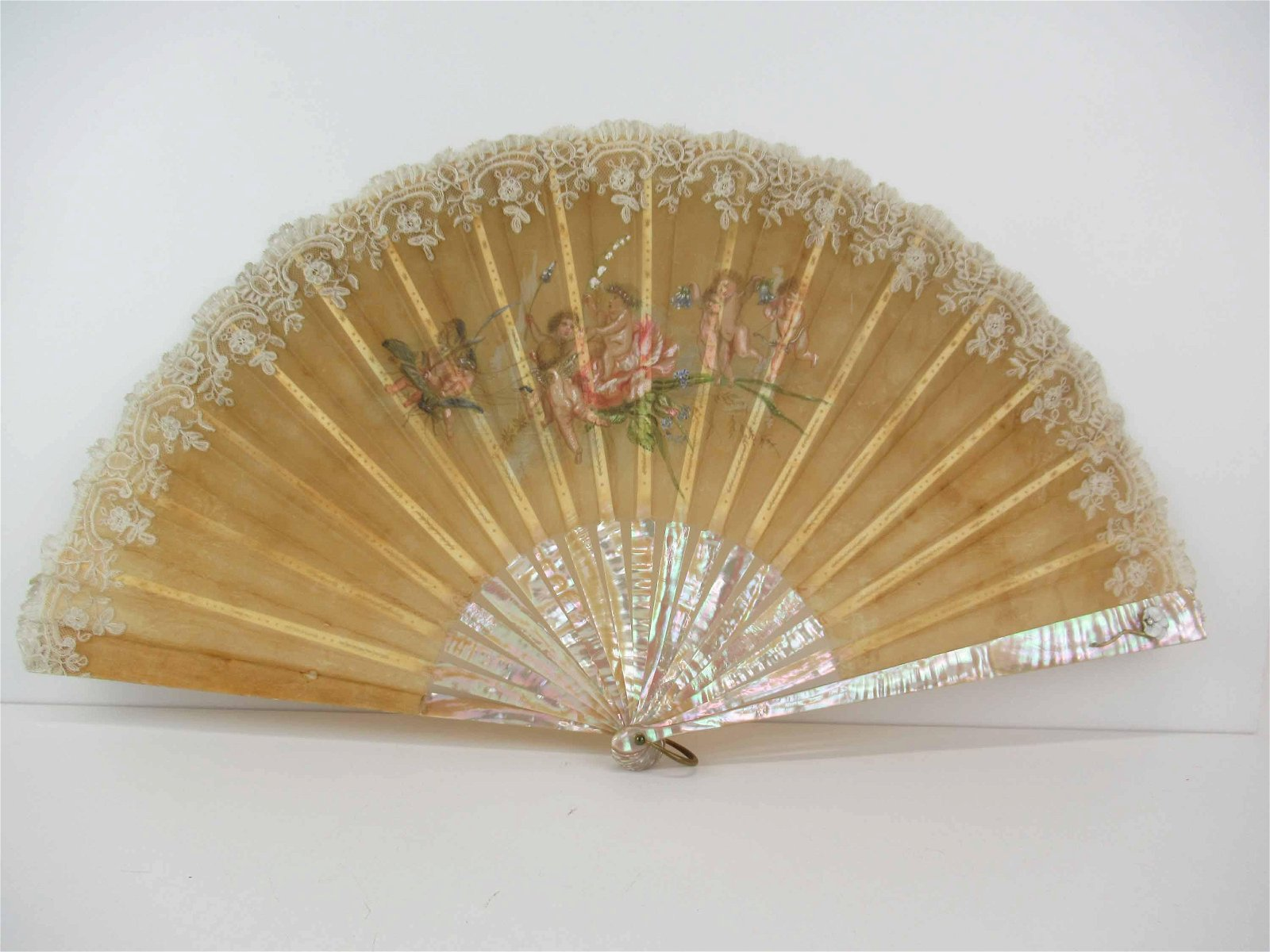 Antique Mother of Pearl Silk & Lace Painted Fan