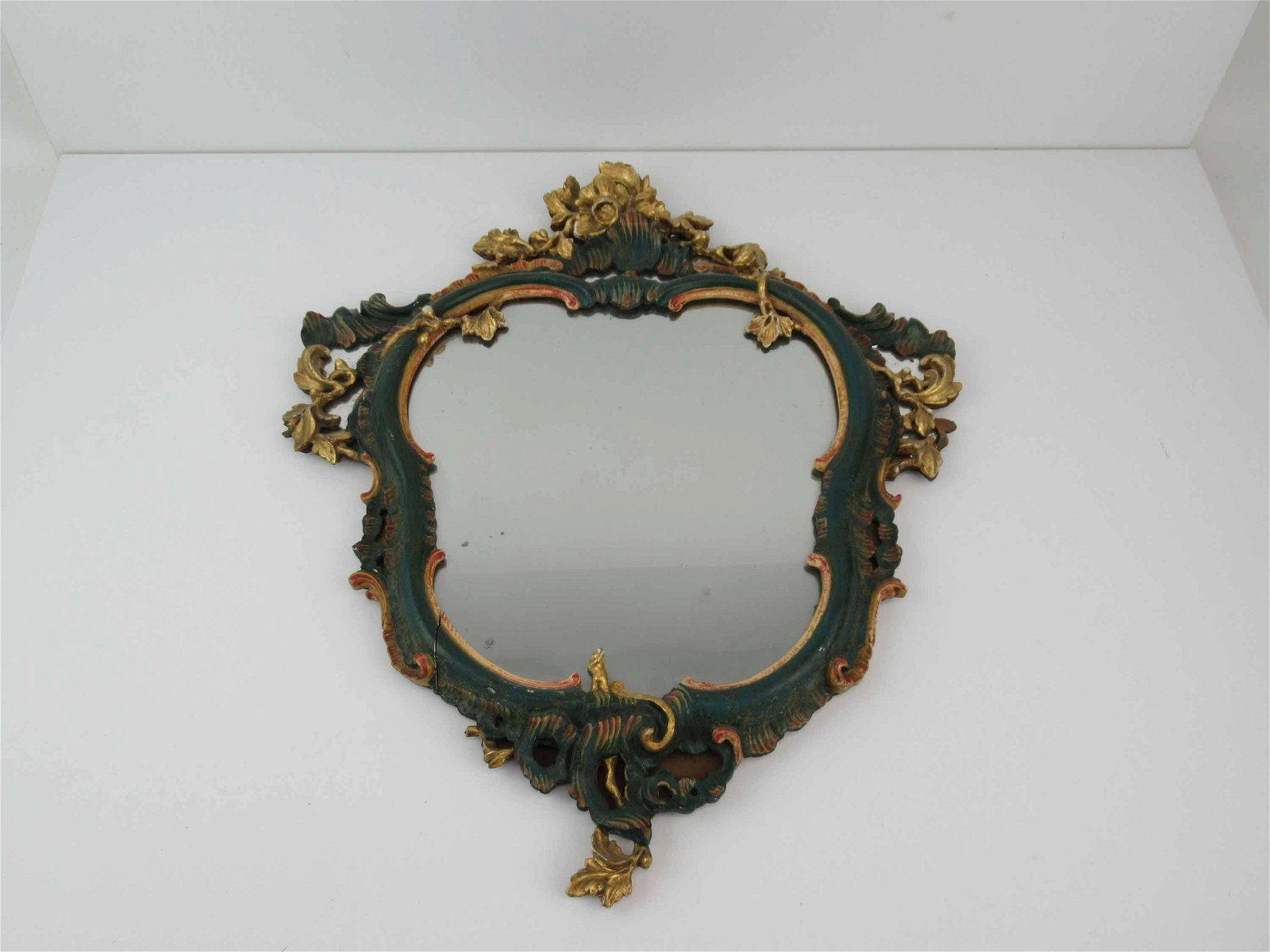 Italian Carved Wood Painted Gilt Wall Mirror