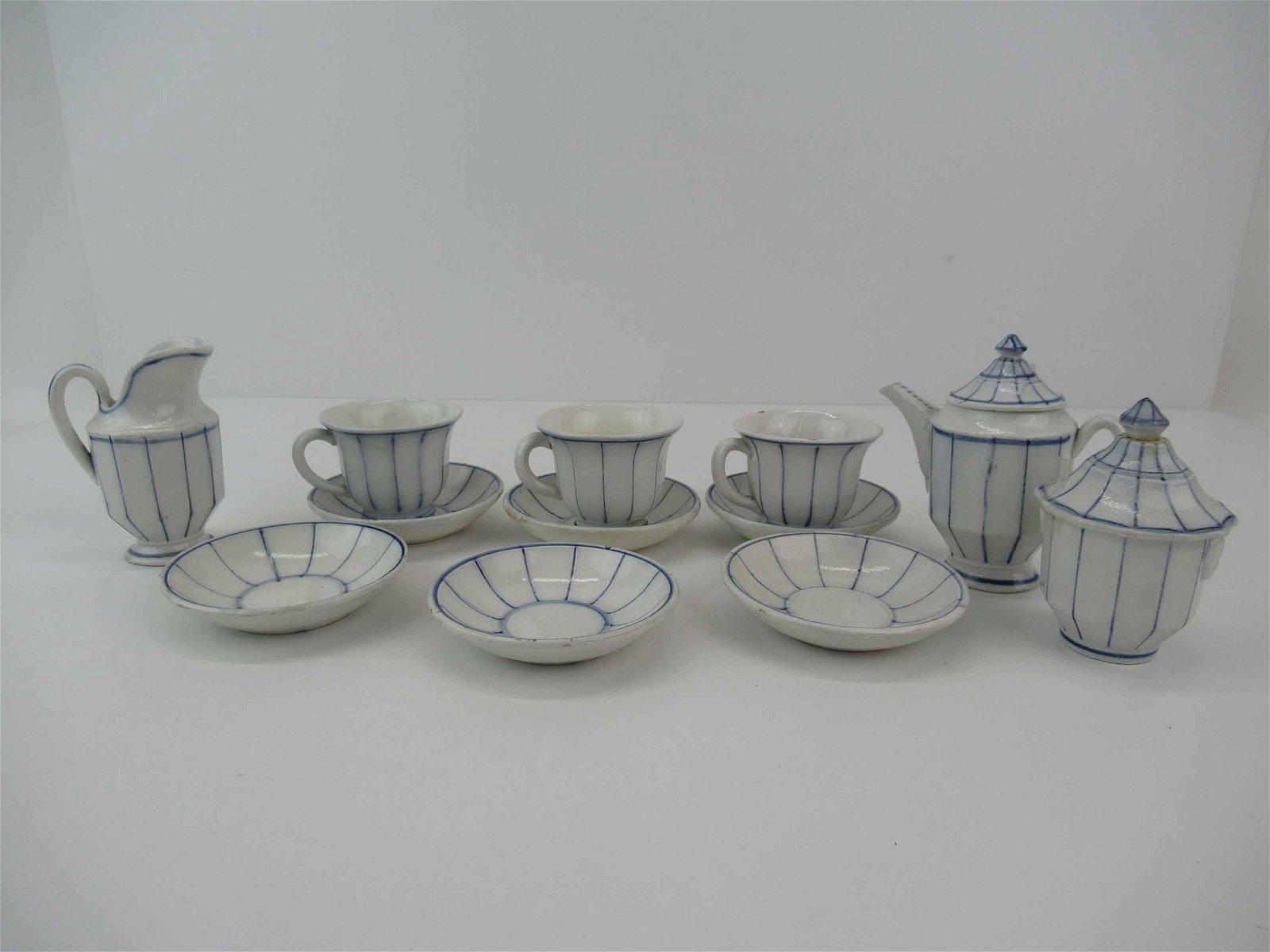 Antique Partial Blue & White Child's Tea Set