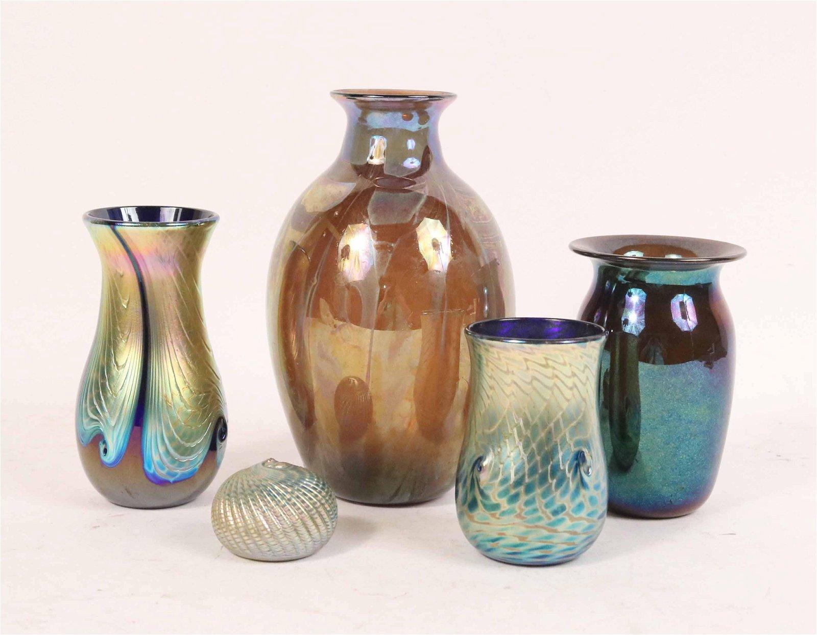 Five Contemporary Iridescent Glass Pieces