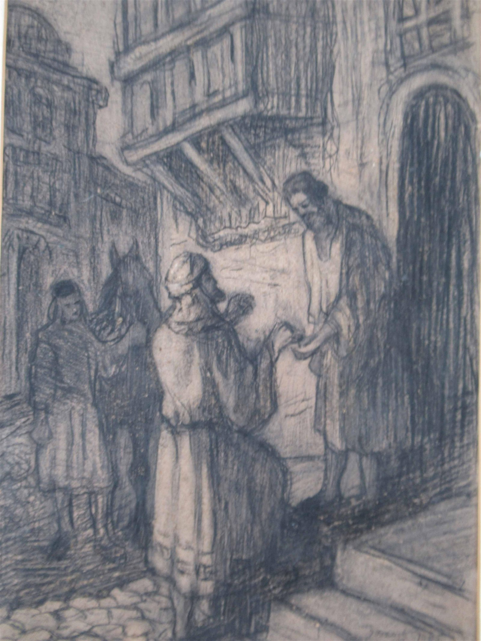 Charcoal Drawing of Wise Men Looking for Room