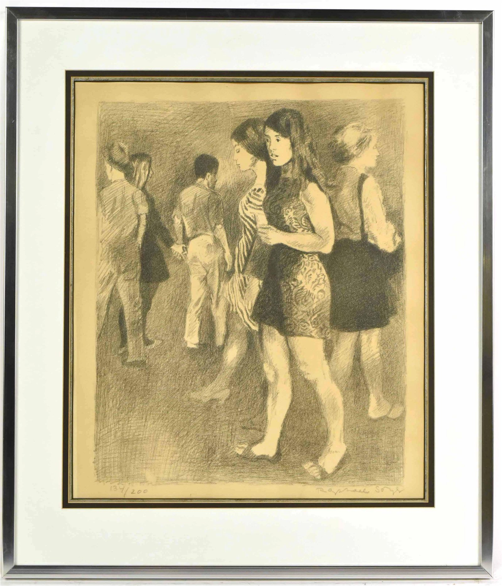 Etching, Young Men and Women, Raphael Soyer