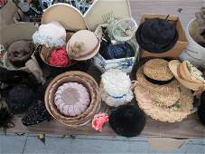 Large Group of Vintage Ladies Hats and Boxes