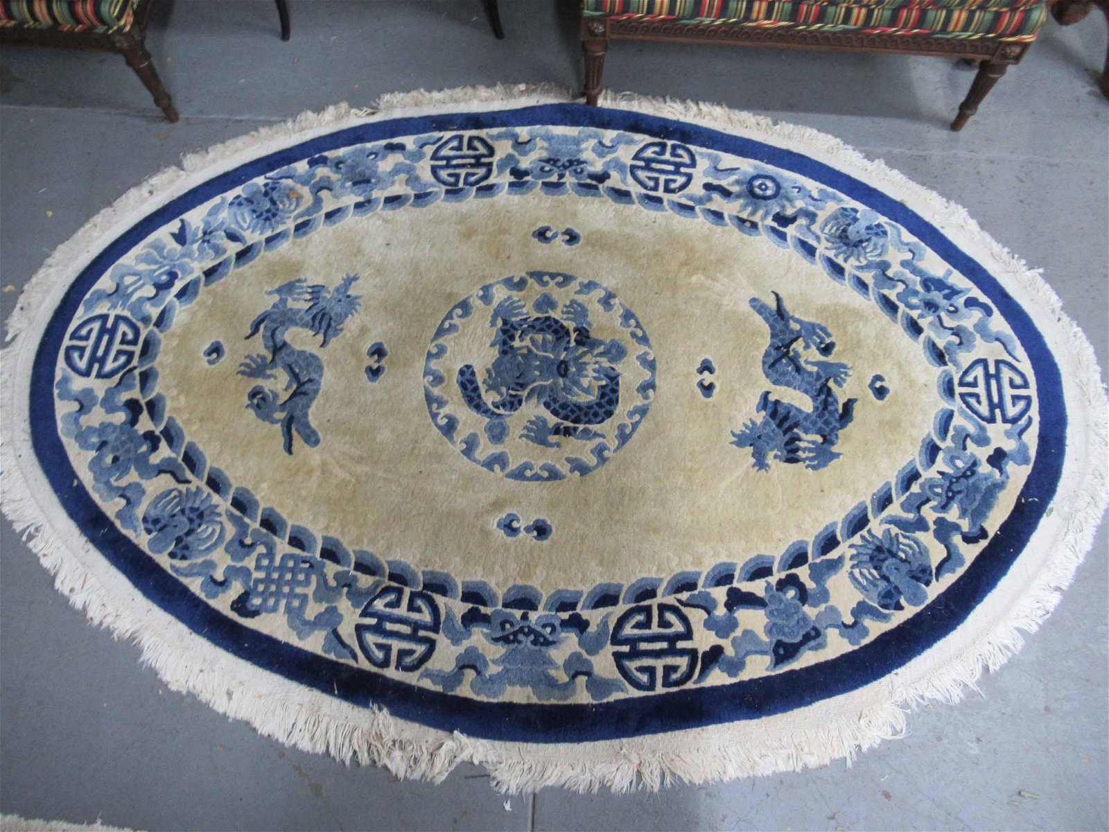 Chinese Oval Throw Rug