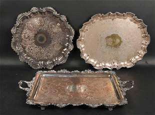 Two Large Silver Plated Footed Trays