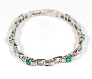 Platinum Diamond Emerald Link Bracelet