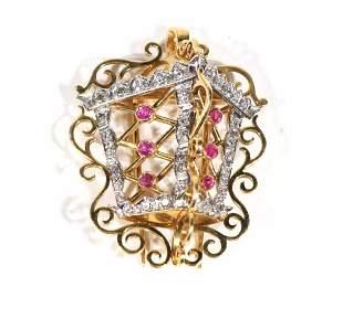 18K Gold Diamond Ruby Lantern BroochPendant