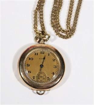 Elgin Yellow Gold Ladies Pendant Watch Chain