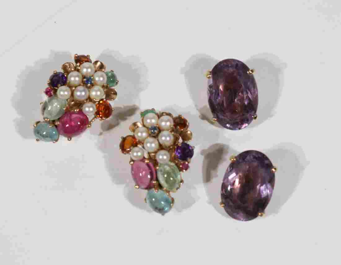 Two Pair 14K Yellow Gold Gem Stone Ear Clips