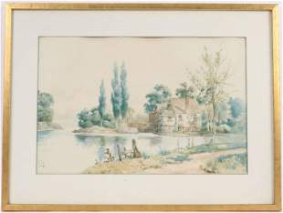 Watercolor House on a Pond