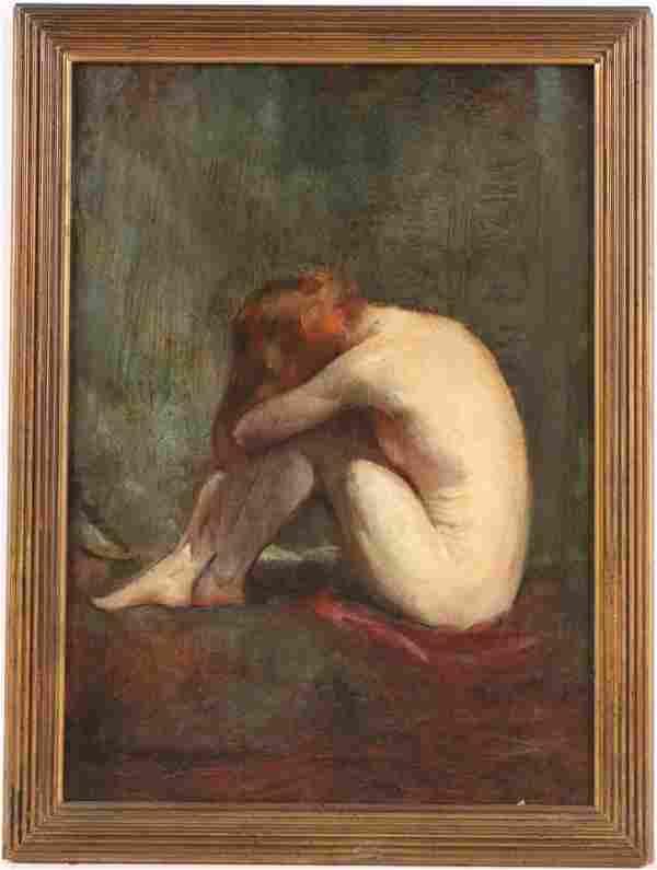Oil on Board, Seated Nude Female