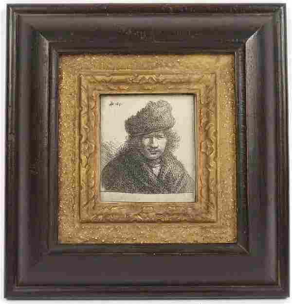 Rembrandt van Rijn, Engraving, Self Portrait