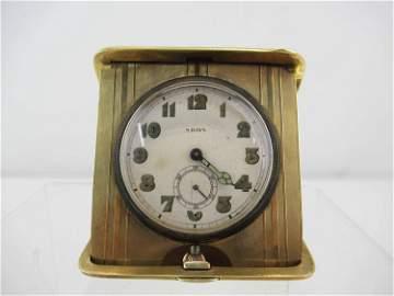 Longines 14K Gold Swiss 8 Day Travel Clock