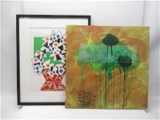"Modern Mixed Media Painting on Canvas ""Mistik"""