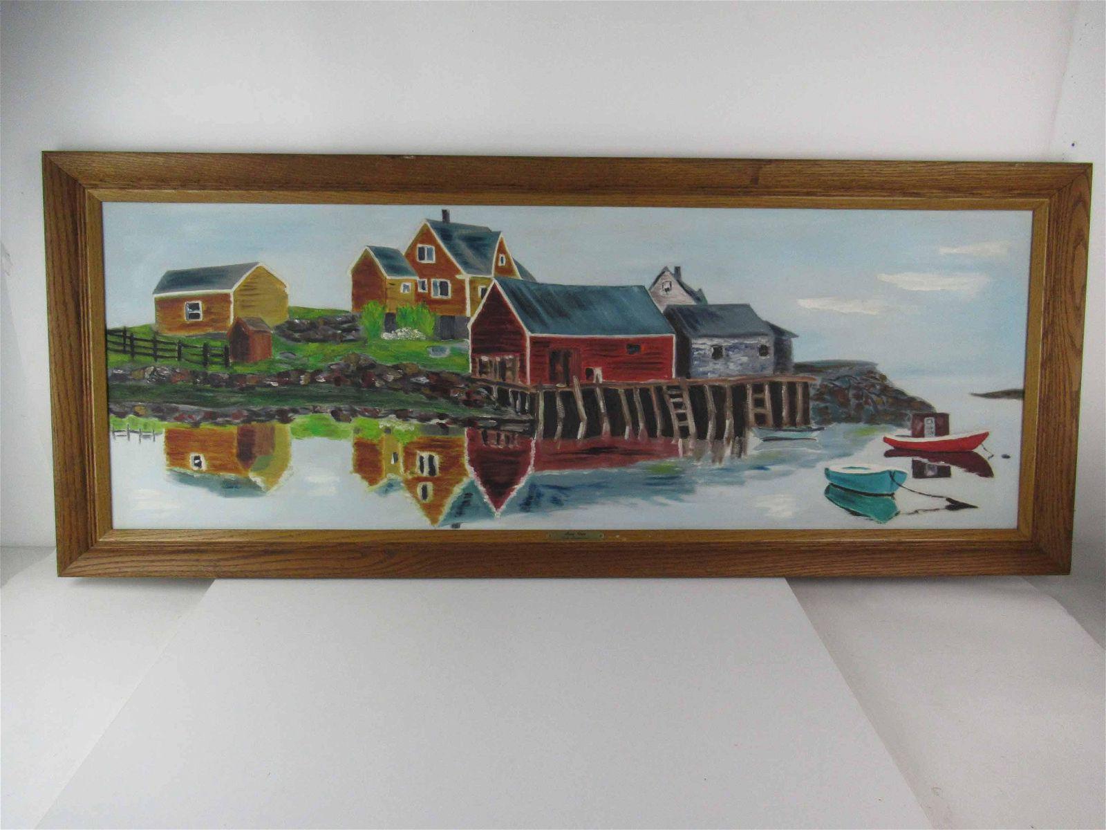 Oil on Canvas Misty Cove Landscape