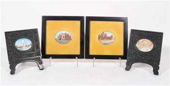 Four Miniature Paintings of Indian Buildings