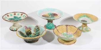 Five Majolica Compotes and Footed Bowls