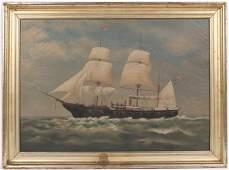 Oil on Canvas, Clipper Ship, M.E. Goodwin