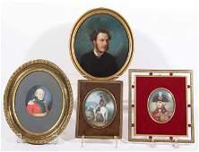 Four Portrait Miniatures of Soldiers & Gentlemen