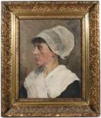 CF Keller Oil on Canvas Portrait of Woman
