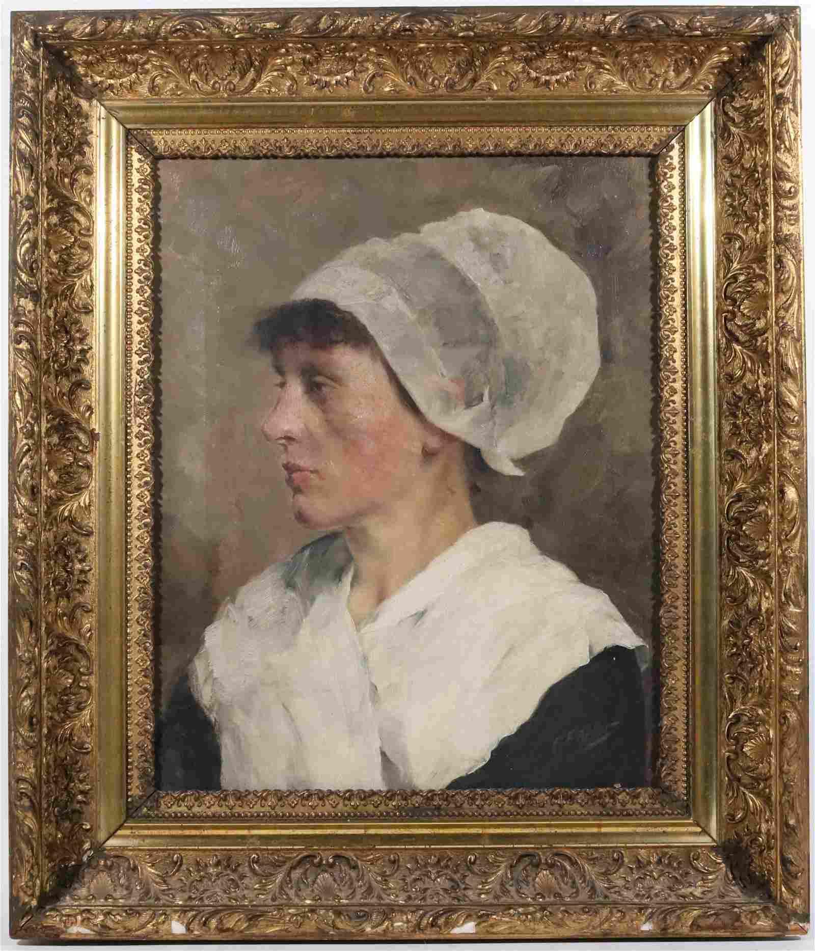 C.F. Keller, Oil on Canvas, Portrait of Woman