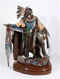 Dave McGary, Painted Bronze Sculpture of Warrior