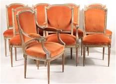8 Louis XVI Style Gilt Beechwood Dining Chairs
